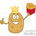 8789 Royalty Free RF Clipart Illustration Smiling King Potato Cartoon Character Holding Fries And Giving A Thumb Up Vector Illustration Isolated On White