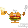 8577 Royalty Free RF Clipart Illustration Happy Hamburger Cartoon Character Holding A Beer And Bbq Slotted Spatula Vector Illustration Isolated On White