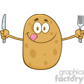 8783 royalty free rf clipart illustration hungry potato cartoon character with knife and fork vector illustration isolated on white gif, png, jpg, eps, svg, pdf