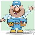 8524 Royalty Free RF Clipart Illustration Smiling Mechanic Cartoon Character Waving For Greeting Vector Illustration With Background