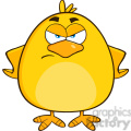 8612 Royalty Free RF Clipart Illustration Angry Yellow Chick Cartoon Character Vector Illustration Isolated On White