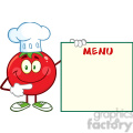 8396 Royalty Free RF Clipart Illustration Smiling Tomato Chef Cartoon Mascot Character Pointing To Menu Board Vector Illustration Isolated On White