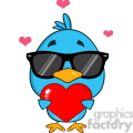8822 Royalty Free RF Clipart Illustration Cute Blue Bird With Sunglasses Cartoon Character Holding A Love Heart Vector Illustration Isolated On White