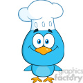 8817 Royalty Free RF Clipart Illustration Chef Blue Bird Cartoon Character Vector Illustration Isolated On White