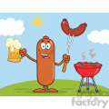 8470 Royalty Free RF Clipart Illustration Happy Sausage Cartoon Character Holding A Beer And Weenie Next To BBQ Vector Illustration Isolated On White