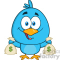 8834 Royalty Free RF Clipart Illustration Happy Blue Bird Cartoon Character Holding A Bags Of Money Vector Illustration Isolated On White