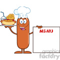 8496 Royalty Free RF Clipart Illustration Chef Sausage Cartoon Character Carrying A Hot Dog, French Fries And Cola Next To Menu Board Vector Illustration Isolated On White