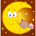 6996 royalty free rf clipart illustration cute african american baby girl sleeps on the smiling moon cartoon characters gif, png, jpg, eps, svg, pdf