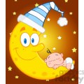 Royalty Free RF Clipart Illustration Cute Baby Boy Sleeps On The Moon With Sleeping Hat Over Sky With Stars