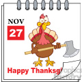 royalty free rf clipart illustration cartoon calendar page turkey with axe and happy thanksgiving greeting gif, png, jpg