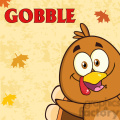 8979 royalty free rf clipart illustration happy turkey bird cartoon character looking from a corner with text vector illustration greeting card gif, png, jpg, eps, svg, pdf
