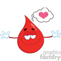 royalty free rf clipart illustration smiling red blood drop cartoon mascot character with open arms for hugging gif, png, jpg, eps, svg, pdf