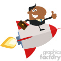 8341 Royalty Free RF Clipart Illustration African American Manager Flying On The Rocket And Giving Thumb Up Flat Style Vector Illustration