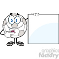 royalty free rf clipart illustration happy soccer ball cartoon character showing a blank sign  gif, png, jpg, eps, svg, pdf