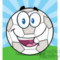 royalty free rf clipart illustration happy soccer ball cartoon character on grass  gif, png, jpg, eps, svg, pdf