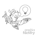 luke the teen cartoon character running with an idea black white