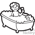 boy taking a bath cartoon in black and white