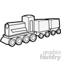 outline of wooden train illustration graphic