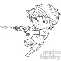 boy shooting ray gun vector illustration