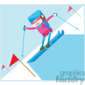 olympic alpine skiing sports character illustration
