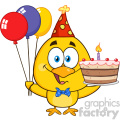 royalty free rf clipart illustration yellow chick cartoon character wearing a party hat and holding balloons and a birthday cake vector illustration isolated on white