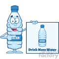 royalty free rf clipart illustration water plastic bottle cartoon mascot character holding and pointing to a banner with text vector illustration isolated on white