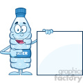 royalty free rf clipart illustration water plastic bottle cartoon mascot character holding and pointing to a blank sign vector illustration isolated on white