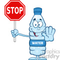 royalty free rf clipart illustration smiling water plastic bottle cartoon mascot character gesturing and holding a stop sign vector illustration isolated on white