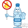 royalty free rf clipart illustration angry water plastic bottle cartoon mascot character holding a no fire sign vector illustration isolated on white