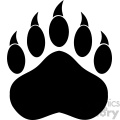 royalty free rf clipart illustration black bear paw with claws vector illustration isolated on white