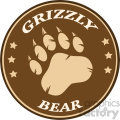 royalty free rf clipart illustration bear paw print brown circle label design vector illustration isolated on white background gif, png, jpg, eps, svg, pdf