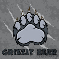royalty free rf clipart illustration gray bear paw with claws vector illustration with scratches grunge background and text
