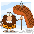 smiling male caveman cartoon mascot character holding a spear with big grilled steak vector illustration gif, png, jpg, eps, svg, pdf
