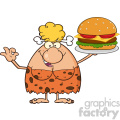 9965 chef cave woman cartoon mascot character holding a big burger and gesturing ok vector illustration