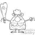 black and white grumpy cave woman cartoon mascot character holding up a fist and a club vector illustration