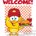 royalty free rf clipart illustration yellow chick cartoon character wearing a baseball cap and holding a fast food tray under welcome vector illustration isolated on white gif, png, jpg, eps, svg, pdf
