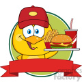 royalty free rf clipart illustration yellow chick cartoon character wearing a baseball cap and holding a fast food over a ribbon banner vector illustration isolated on white gif, png, jpg, eps, svg, pdf