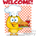 royalty free rf clipart illustration chef yellow chick cartoon character holding a fast food tray under welcome vector illustration isolated on white gif, png, jpg, eps, svg, pdf