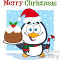 royalty free rf clipart illustration cute penguin cartoon character holding christmas pudding and candy cane on the snow vector illustration greeting card