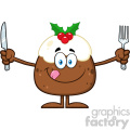 royalty free rf clipart illustration christmas pudding cartoon character licking his lips and holding silverware vector illustration isolated on white