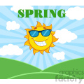 royalty free rf clipart illustration sunshine smiling sun mascot cartoon character with sunglasses over landscape vector illustration with suburst background and text spring gif, png, jpg, eps, svg, pdf