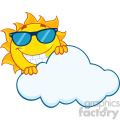 royalty free rf clipart illustration smiling summer sun mascot cartoon character with sunglasses hiding behind cloud vector illustration isolated on white background
