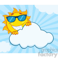 royalty free rf clipart illustration smiling summer sun mascot cartoon character with sunglasses hiding behind cloud vector illustration with background