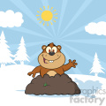 royalty free rf clipart illustration happy marmmot cartoon character waving in groundhog day vector illustration with background gif, png, jpg, eps, svg, pdf