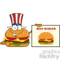 illustration american burger cartoon mascot character pointing to a sign banner with text best burger vector illustration isolated on white background