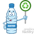 illustration cartoon ilustation of a water plastic bottle mascot character holding up a recycle sign vector illustration isolated on white background