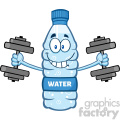 illustration cartoon ilustation of a water plastic bottle mascot character working out with dumbbells vector illustration isolated on white background