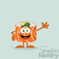 illustration funny sushi roll cartoon mascot character waving vector illustration flat style with background