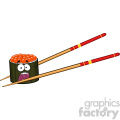 9409 illustration panic sushi roll cartoon mascot character with chopsticks vector illustration isolated on white