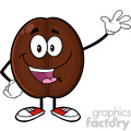 illustration happy coffee bean cartoon mascot character waving vector illustration isolated on white  gif, png, jpg, eps, svg, pdf